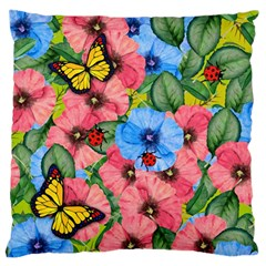 Floral Scene Large Flano Cushion Case (one Side) by linceazul
