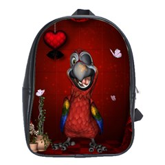 Funny, Cute Parrot With Butterflies School Bag (large) by FantasyWorld7