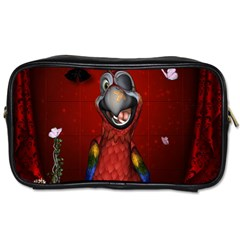 Funny, Cute Parrot With Butterflies Toiletries Bags 2 Side by FantasyWorld7