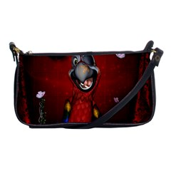 Funny, Cute Parrot With Butterflies Shoulder Clutch Bags by FantasyWorld7