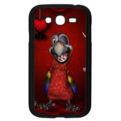 Funny, Cute Parrot With Butterflies Samsung Galaxy Grand Duos I9082 Case (black) by FantasyWorld7