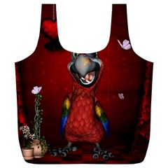 Funny, Cute Parrot With Butterflies Full Print Recycle Bags (l)  by FantasyWorld7