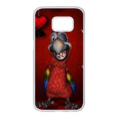 Funny, Cute Parrot With Butterflies Samsung Galaxy S7 Edge White Seamless Case by FantasyWorld7