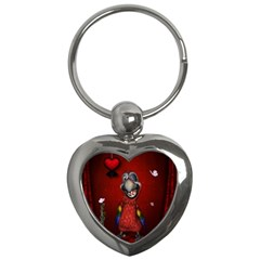Funny, Cute Parrot With Butterflies Key Chains (heart)  by FantasyWorld7