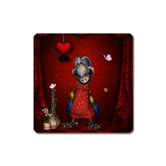 Funny, Cute Parrot With Butterflies Square Magnet by FantasyWorld7