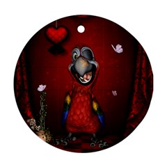 Funny, Cute Parrot With Butterflies Round Ornament (two Sides) by FantasyWorld7
