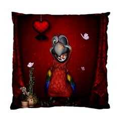 Funny, Cute Parrot With Butterflies Standard Cushion Case (two Sides) by FantasyWorld7