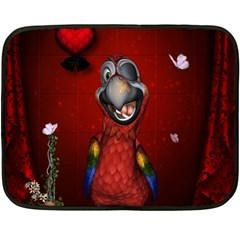 Funny, Cute Parrot With Butterflies Fleece Blanket (mini) by FantasyWorld7