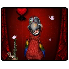Funny, Cute Parrot With Butterflies Fleece Blanket (medium)  by FantasyWorld7
