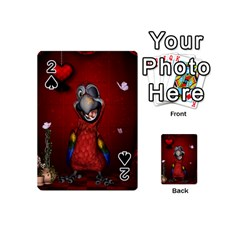 Funny, Cute Parrot With Butterflies Playing Cards 54 (mini)  by FantasyWorld7