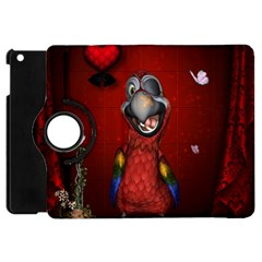 Funny, Cute Parrot With Butterflies Apple Ipad Mini Flip 360 Case by FantasyWorld7
