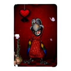 Funny, Cute Parrot With Butterflies Samsung Galaxy Tab Pro 12 2 Hardshell Case by FantasyWorld7