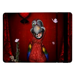 Funny, Cute Parrot With Butterflies Samsung Galaxy Tab Pro 12 2  Flip Case by FantasyWorld7