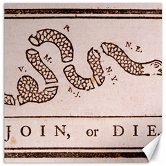 Original Design, Join Or Die, Benjamin Franklin Political Cartoon Canvas 12  X 12   by thearts