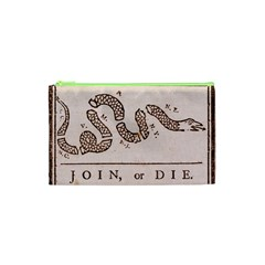 Original Design, Join Or Die, Benjamin Franklin Political Cartoon Cosmetic Bag (xs) by thearts