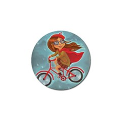 Girl On A Bike Golf Ball Marker (4 Pack) by chipolinka