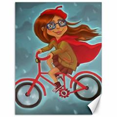 Girl On A Bike Canvas 12  X 16   by chipolinka