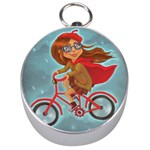 Girl on a bike Silver Compasses Front