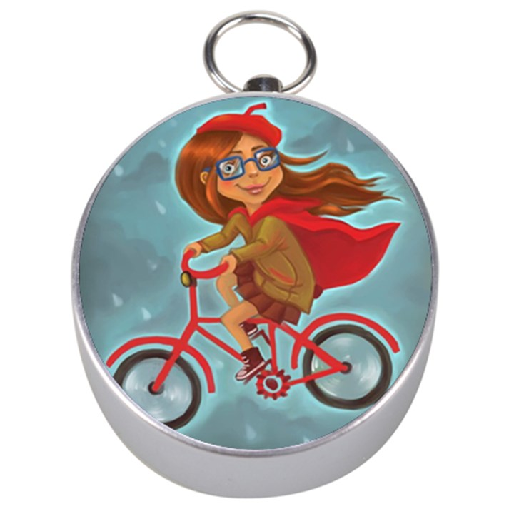 Girl on a bike Silver Compasses