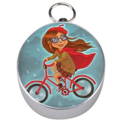 Girl On A Bike Silver Compasses by chipolinka