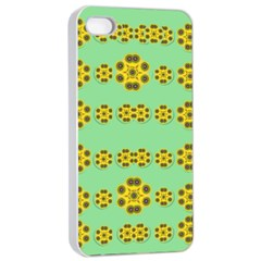Sun Flowers For The Soul At Peace Apple Iphone 4/4s Seamless Case (white) by pepitasart