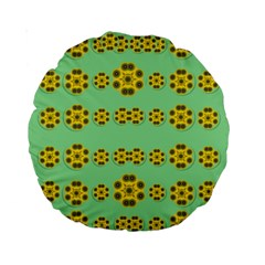 Sun Flowers For The Soul At Peace Standard 15  Premium Round Cushions by pepitasart
