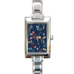 Blue Background Backdrop Geometric Rectangle Italian Charm Watch