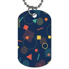 Blue Background Backdrop Geometric Dog Tag (two Sides)