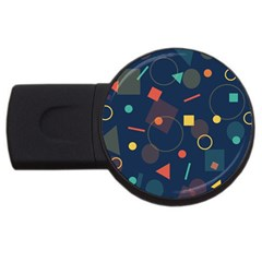 Blue Background Backdrop Geometric Usb Flash Drive Round (2 Gb)
