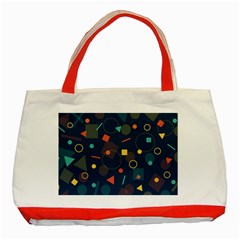 Blue Background Backdrop Geometric Classic Tote Bag (red)