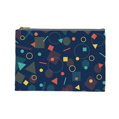 Blue Background Backdrop Geometric Cosmetic Bag (large)