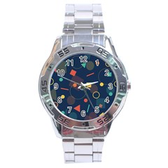 Blue Background Backdrop Geometric Stainless Steel Analogue Watch