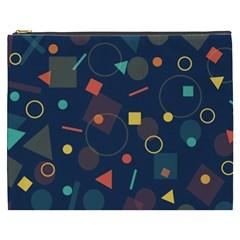Blue Background Backdrop Geometric Cosmetic Bag (xxxl)