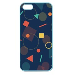 Blue Background Backdrop Geometric Apple Seamless Iphone 5 Case (color)