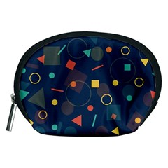 Blue Background Backdrop Geometric Accessory Pouches (medium)