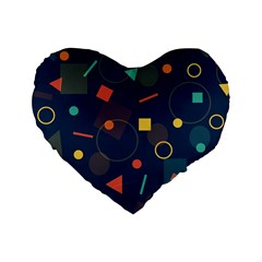 Blue Background Backdrop Geometric Standard 16  Premium Flano Heart Shape Cushions