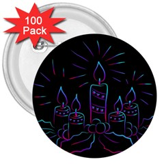 Advent Wreath Candles Advent 3  Buttons (100 Pack)