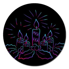 Advent Wreath Candles Advent Magnet 5  (round)