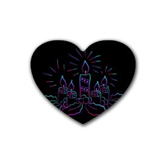 Advent Wreath Candles Advent Rubber Coaster (heart)