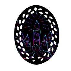 Advent Wreath Candles Advent Oval Filigree Ornament (two Sides)