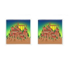 Mountain Village Mountain Village Cufflinks (square) by Nexatart