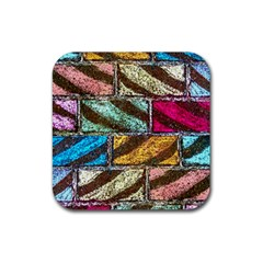 Colorful Painted Bricks Street Art Kits Art Rubber Square Coaster (4 Pack)  by Costasonlineshop