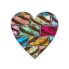 Colorful Painted Bricks Street Art Kits Art Heart Magnet by Costasonlineshop