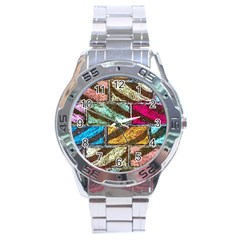 Colorful Painted Bricks Street Art Kits Art Stainless Steel Analogue Watch by Costasonlineshop