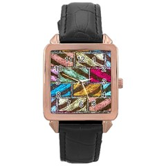Colorful Painted Bricks Street Art Kits Art Rose Gold Leather Watch  by Costasonlineshop
