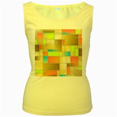 Background Abstract Grid Women s Yellow Tank Top