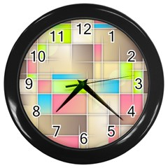 Background Abstract Grid Wall Clocks (black)