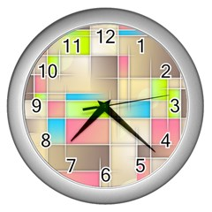Background Abstract Grid Wall Clocks (silver)  by Nexatart