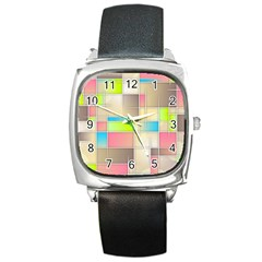 Background Abstract Grid Square Metal Watch