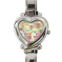 Background Abstract Grid Heart Italian Charm Watch